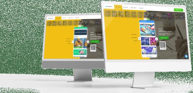 desktop screenshot with Andromo education app builder