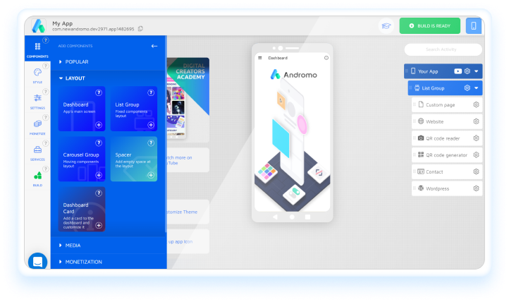 How to add features in Andromo App builder