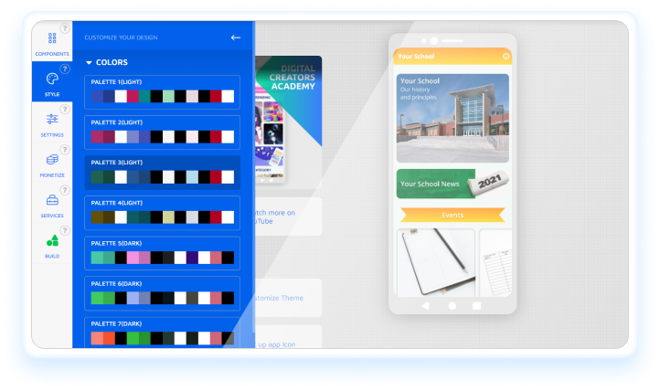 How to choose a theme on Andromo app builder
