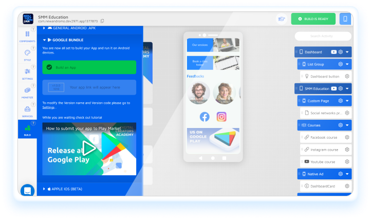 how to host Andromo App on App Stores