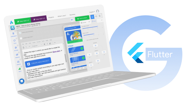 A laptop with Google Flutter logo near it