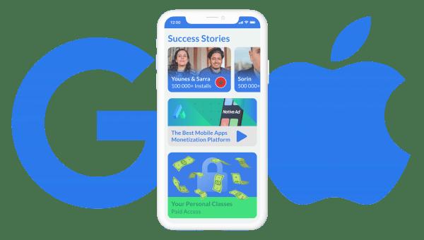 Google and iOS logos near the phone